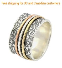 Spinner Ring for women Silver and Gold ring Leaf Spinner