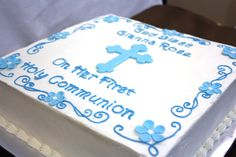 This first Holy Communion cake is simple but elegant with blue scroll work, a fondant cross and fondant flower blossoms. Boys First Communion Cakes, Boy Communion Cake, Communion Gifts, Mnm Cake, Cupcake Cakes, Cupcakes, Confirmation Cakes, Baptism Cakes, Cakes For Boys
