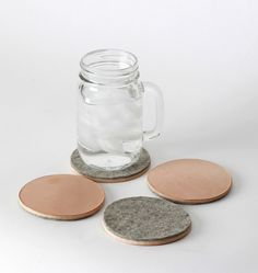 wool + leather coasters