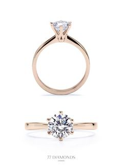Delicate band, but with 4 prongs, not 6. Rose Gold. .5-1 carat diamond. = Perfect Engagement ring - THIS but gold not rose gold