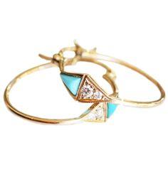 Triangle Turquoise and Diamond Hoop Earrings