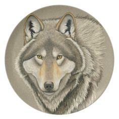 """Grey Wolf Portrait melamine dinner plate by Rebecca Wang on Zazzle.  Plate measures 10"""" in diameter and is made form melamine, a type of plastic."""