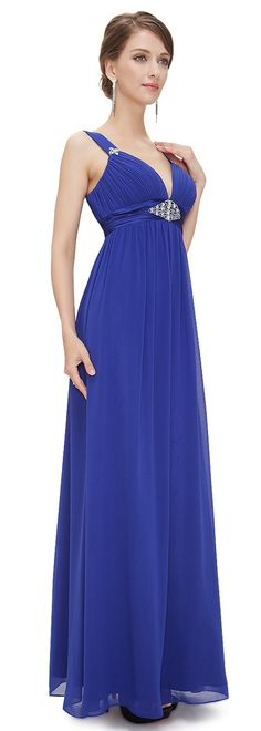 ERIN Sapphire Blue Chiffon Jewel Evening Prom Bridesmaid Dress - www.eloises-secret-closet.co.uk