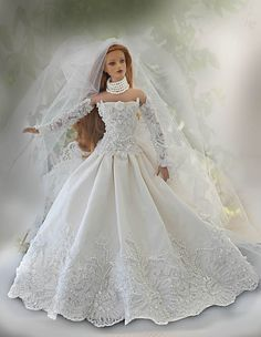 Sydney - Sydney is wearing a hand made wedding dress made of taffeta and beaded lace Barbie Bridal, Barbie Wedding Dress, Wedding Doll, Barbie Gowns, Barbie Dress, Barbie Clothes, Beautiful Dolls, Beautiful Bride, Barbie E Ken