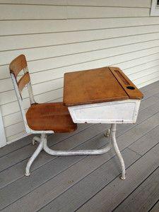 Vintage Antique School Desk Cast Iron Wood | eBay