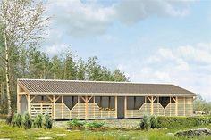 Projekt domu Malutki dr-S 79,48 m2 - koszt budowy 199 tys. zł - EXTRADOM Bungalow House Plans, Bungalow House Design, Country Modern Home, Facade House, Home Design Plans, Wood Construction, Planer, Home Fashion, Cabin