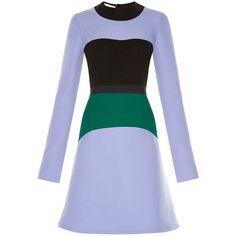 Marni Colour-block long-sleeved dress ($975) ❤ liked on Polyvore featuring dresses, blue multi, marni dresses, color block dress, colorblocked dress, long sleeve short dress and block print dress