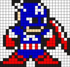 Captain America Perler Bead Pattern / Bead Sprite