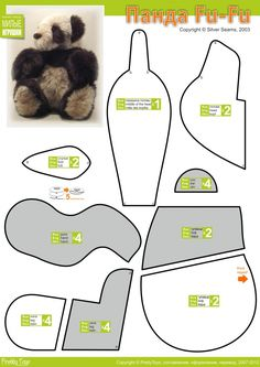 Панда Fu-Fu, Make a Kung Fu Panda Bear Stuffed Animal Pattern, How to Make a… Plushie Patterns, Craft Patterns, Doll Patterns, Sewing Patterns, Sewing Toys, Sewing Crafts, Sewing Projects, Free Sewing, Sewing Stuffed Animals