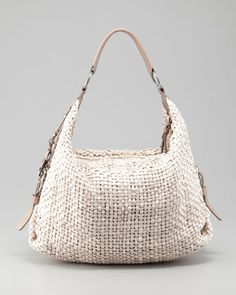 Perfect summer bag! Woven Leather Hobo Bag, Cream by Henry Beguelin at Neiman Marcus.