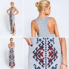 folkstyle. платье-майка с народным узором.