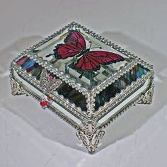 Etched Hand Painted Butterfly Glass Jewelry Box