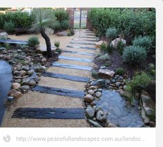 Reclaimed timber pathway.