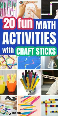 If you're looking for fun math activities that use simple math manipulatives, we've got you covered. 20 math activities for kids using craft sticks. Kids Activities At Home, Kids Learning Activities, Hands On Activities, Infant Activities, Fun Learning, Craft Sticks, Craft Stick Crafts, Kids Crafts, Craft Ideas