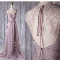 2017 Rose Gray Lace Chiffon Bridesmaid Dress, Sweetheart Wedding Dress, Ruched Bodice Prom Dress, A Line Evening Gown Full Length (L230)