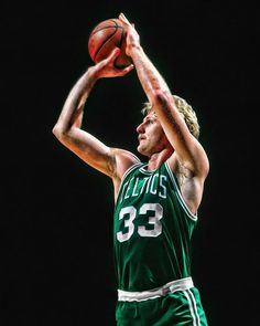 A young Larry Bird shows his perfect shooting form in this iconic photo art piece. Celtics Basketball, Basketball Pictures, Love And Basketball, Basketball Legends, Sports Basketball, Basketball Players, Basketball Shoes, Basketball Birthday, Larry Bird