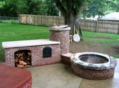 Here's a finished view of the fire pit, smoker and an addition which houses a wood storage area and what appears to be a wood fired oven! Description from pinterest.com. I searched for this on bing.com/images