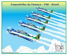 ESQUADRILHA DA FUMAÇA - FAB Minha homenagem também à Esquadrilha da Fumaça, com uma infografia dos aviões Super Tucano, apresentação que sempre fazem em 7 de setembro. Desenho - Ilustração - Illustration - Drawing http://arterocha.blogspot.com.br