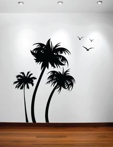 Palm Coconut Tree Wall Decal With Birds (3 Trees) #1132 Part 61