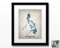 Philippines Map Art Print  Home Is Where The Heart Is by TRPrints, $18.00