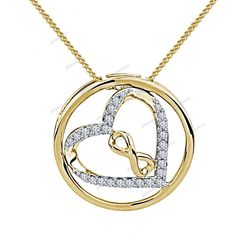 "14K Yellow Gold Plated Women's Heart Shape In Infinity Pendant With 18"" Chain #giftjewelry22 #HeartPendant"