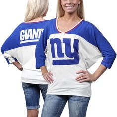 Nike New York Giants Ladies Football Style Three-Quarter Sleeve T-Shirt - White/Royal Blue