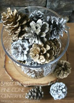 If you are looking for a Quick Holiday Decor idea, try these Spray Painted Pine Cones for your next display.