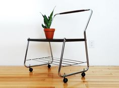 Vintage Metal Rolling Plant Stand Occasional Table Industrial