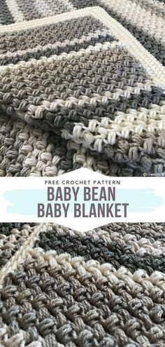 How to Crochet Baby Bean Baby Blanket - - If you are looking for a trendy detail for your newborn's nursery, I collected some recommendations for Bold Baby Blankets for you! Boy Crochet Patterns, Crochet Baby Blanket Free Pattern, Baby Afghan Crochet, Baby Patterns, Crocheted Baby Blankets, Modern Crochet Blanket, Crochet Blanket Edging, Crochet Gratis, Crochet For Boys