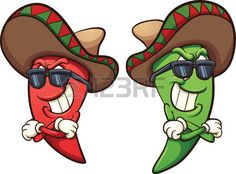 Buy Chili Peppers by memoangeles on GraphicRiver. Mexican red and green chili peppers. Vector clip art illustration with simple gradients. Cartoon Crazy, Cartoon Art, Graphic Design Illustration, Illustration Art, Graphic Art, Mexican Pictures, Cactus Cartoon, Mexican Chili, Photo Deco