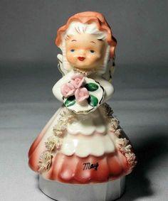 Vintage 1956 Napco Ceramic May Angel Bell Spaghetti Trim