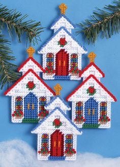 Plastic Canvas Kit ~ Design Works Set of 4 Churches Christmas Ornaments #DW1701 | Crafts, Needlecrafts & Yarn, Embroidery & Cross Stitch | eBay!