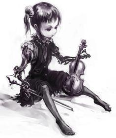 Dark #Goth girl and violin