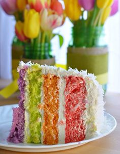Rainbow Layer Cake for Spring made with JELLO. Many touches of Easter!