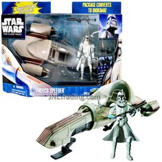 Year 2010 Star SW Wars The Clone Wars Series 9 Inch Long Vehicle Set - Freeco Speeder with Clone Trooper, Blaster Rifle and Diorama