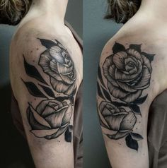 Upper arm tattoo jacob | Photo by (kingcurtisoriginal) on Instagram | #rose #tattoo #bensberg #blackwork #kln #inkedgirls #wipshading #rosetattoo #upperarmtattoo #black #blackworkrose