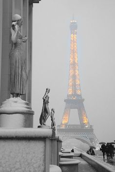 The Eiffel Tower on a snowy evening.