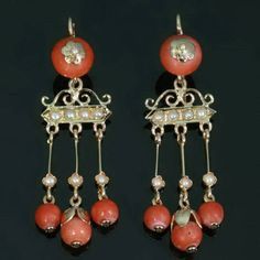 Victorian Gold Pendant Earrings with Coral and Pearls
