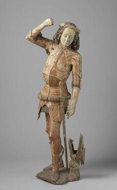 Saint-Georges avec le dragon, cercle de Hans Klocker, Bressanone, v.1500  Tilleul, h 123cm.