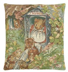 Dormice - Fine Woven Tapestry Cushion From Beatrix Potters timeless tales Fine Woven Tapestry Cushion finished with luxurious British velvet back