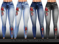 Trendy Rose Applique High Waist Jeans design by Saliwa  Found in TSR Category 'Sims 4 Female Everyday'
