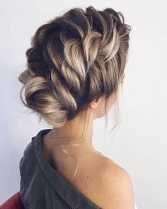 Braided updo hairstyles,braid wedding hairstyles ,updo, loose braid updo wedding hairstyle Amazing updo hairstyle with the wow factor. Finding just the right wedding hair for your wedding day is no small task but we're about. Romantic Wedding Hair, Wedding Hair And Makeup, Hair Makeup, Wedding Beauty, Romantic Updo, Blonde Makeup, Blonde Beauty, Boho Wedding, Blonde Hair