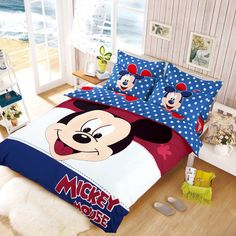 Promotie mickey en minnie mouse beddengoed kinderen beddengoed sets thuis textiel 2015 hello kitty dekbedovertrek set koning/koningin/twin size