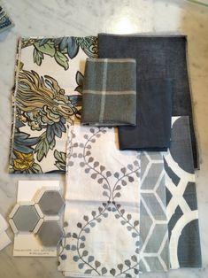 Meredith Heron Design #InglewoodDr project - Family Room fabric scheme