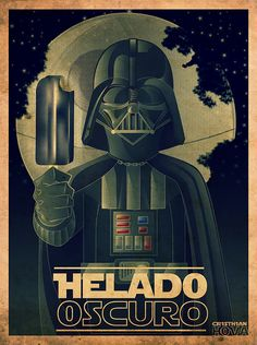 ♥Darth Vader Helado Oscuro (Dark Ice Cream) Created by Cristhian Hoyos Varillas♥ Star Wars Fan Art, Star Trek, Dark Vader, The Dark Side, Funny Images, Funny Pictures, Spanish Jokes, Spanish Class, Spanish Posters