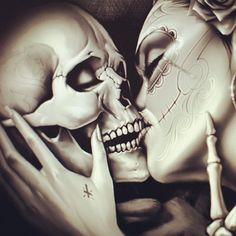 ผลการค้นหารูปภาพสำหรับ skull kiss girl tattoo