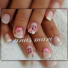 Esmaltados Cute Nail Art, Beautiful Nail Art, Cute Nails, Pretty Nails, French Manicure Nails, Manicure And Pedicure, Gel Nails, Best Acrylic Nails, Gel Nail Designs