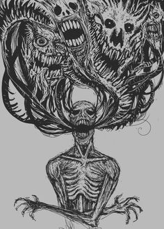 "Way too dark for me, but still a good ""inner demons"" type illustration (Creepy Beauty Art)"