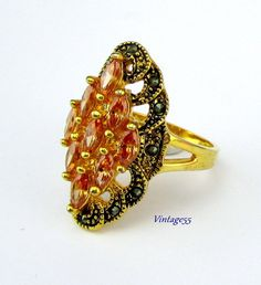 Topaz Marcasite Costume Ring 9 plus by Vintage55 on Etsy