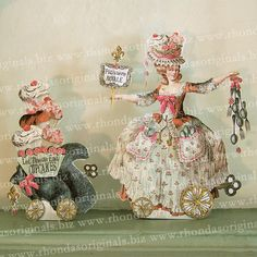 Digital Paper Doll Download Collage Sheet - Vintage Marie Antoinette French Chef Cupcakes Squirrel Altered Art For Paper Crafts MA2DP